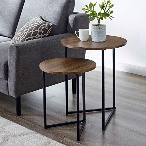 Walker Edison Furniture Company Modern Round Metal Base Nesting Set Side Accent Living Room Storage Small End Table, Set of 2, Dark Walnut