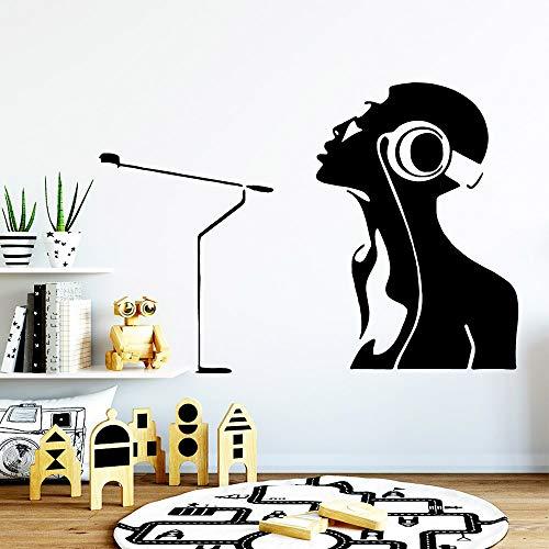 Jsnzff Moderno Escuchar música Pegatinas de Pared extraíbles Fondo de Pantalla extraíble calcomanías de Arte de Pared Pegatinas de decoración de la Sala de Estar 57x65cm