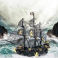 7.48インチブラックパール海賊船、307パーツの3Dメタルモデルキット、大人のDIY 3Dメタルパズル、シップメタルモデルキット、14歳以上の人に適したブラックパールヨットモデル