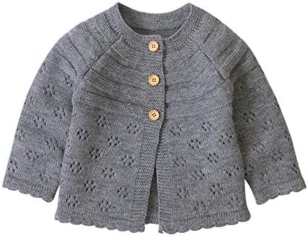 Eyiou Infant Baby Fall Winter Cardigan Sweaters Cute Baby Girl Solid Color Knitted Cardigan product image