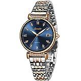 LIGE Damen Armbanduhr Frauen Mode Elegant Wasserdicht Analoger Quarz Uhr Weiblich Rosegold Silber Edelstahl Geschäft Uhren Blau Zifferblatt Einfach Luxus Beiläufig Kleid Kalendar Damenuhr