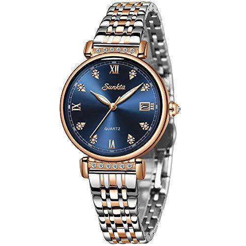 LIGE Relojes de Pulsera Mujeres Cuarzo Analógico 3ATM Impermeable Reloj para Damas Simple Plata Acero Inoxidable Azul Dial Calendario Reloj Dial Vestido Negocios Reloj Mujer