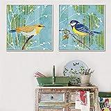 Cuadros realistas Vista Pastoral Pájaros Impresión de animales Pintura en lienzo para el interior Dormitorio Hogar Decoración nórdica Póster Obra de arte / 40x40cmx2 Sin marco