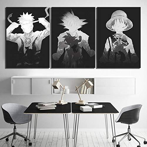 Leinwanddruck Bilder - 50X70 Cm X3 (150X70Cm)- Leinwandbilder 3 Teilig Bild Auf Leinwand Vlies Wandbild Kunstdruck Wohnzimmer Wanddekor Wandkunst Dragon Ball One Piece Naruto Anime Geschenk