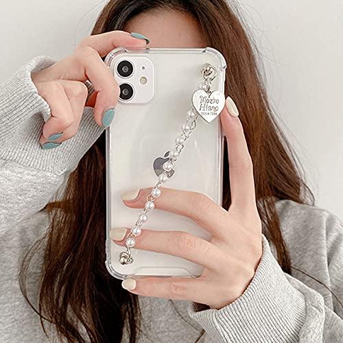 Cute Love Heart Pearl Bracelet Estuches para teléfono para iPhone 12 Mini 11Pro MAX X XS MAX XR 7 8 Plus SE 2020 Carcasa Trasera Suave con Cadena de muñeca, A, para iPhone 12mini