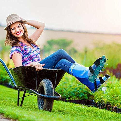 Rasenbelüfter Rasenlüfter Vertikutierer Rasen Vertikutierer Rasen Nagelschuhe mit 3 Verstellbare Gurte und Metal,Einstellbar Universalgröße passt Schuhe oder Stiefel für Rasen Hof
