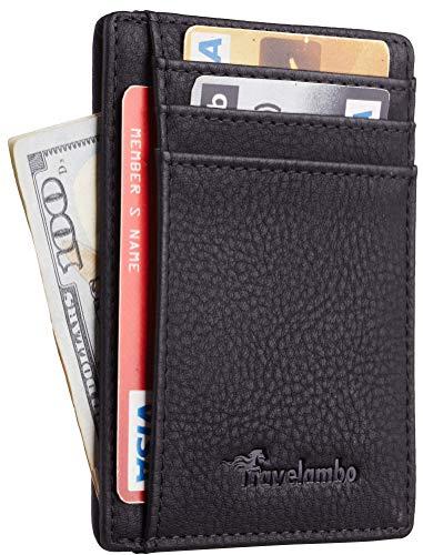 Travelambo Front Pocket Minimalist Leather Slim Wallet RFID Blocking Medium Size(OD Black)