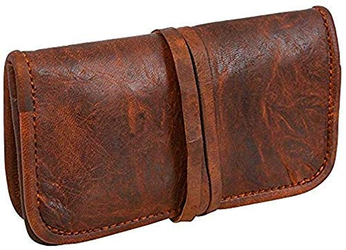 The Vintage Stuff Genuine Leather Tobacco Smoking Pipe Bags Stash Case Medicine Lock Bag Make-Up Wrap Case Stationery Battery Headphone Holder Travel Storage Container Vintage Brown Unisex Pouch