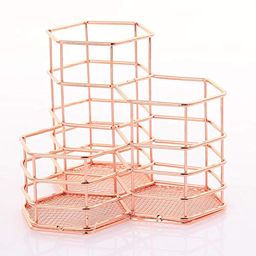Qualsen Pen Holder, 3 in 1 Rose Gold Desk Organizer Pencil Holder
