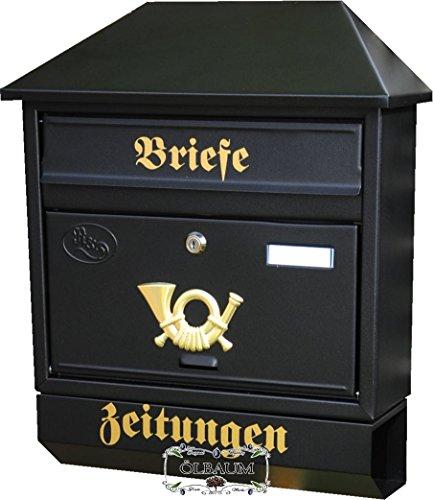 BTV Massivstahl-Briefkasten, mit Rostschutz W groß in schwarz anthrazit dunkel Zeitungsfach Zeitungen Post antik Mailbox Schild