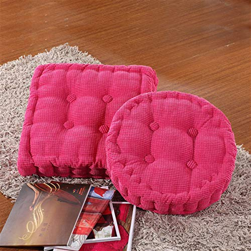 SILUQ Corduroy Tufted Chair Cushion,6cm Thicken Chair Pad,soft Pearl Cotton Padded Seat Cushion,floor Cushion,chair Pillow For Home,office,outdoor Rose red 40x40cm