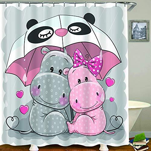 HUAYEXI Duschvorhang 180x180cm,Zwei niedliche Cartoon Flusspferde mit Regenschirm unter dem Regen,Duschvorhang Wasserabweisend-Duschvorhangringen 12 Shower Curtain mit