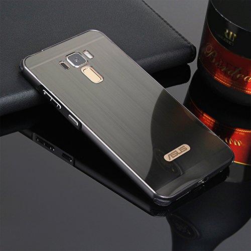 Schutzhülle für Asus ZenFone 3 Laser Hülle Shockproof,Slynmax Spiegel Schwarz dünn Metall Bumper Hülle für Asus Zenfone 3 Laser ZC551KL Dual Layer 2in1 Electroplate Handyhülle Transparent Mirror Tasche
