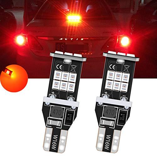 TUINCYN T15 912 921 Ampoules de recul inversées à LED, Rouge, CANBUS, Rouge, sans Erreur, W16W 906 2835 Lampe de recul, 2835 Ampoule à Del de 15SMD (Lot de 2)