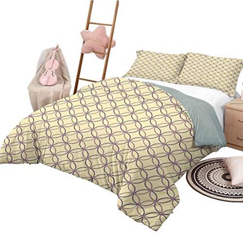 Set de colchas Geometric Chic Home Duvet Cover Set Inspiraciones Círculos entrelazados Elementos geométricos de la Vendimia Amarillo pálido Malva Lila Twin Tamaño XL