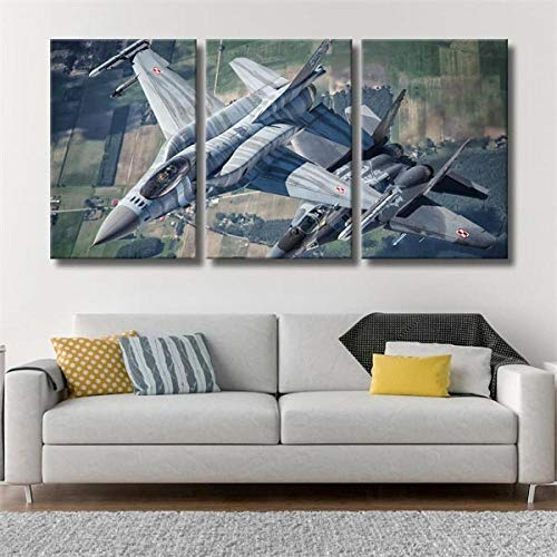 DDSDA Avión Militar F-16 Fighting Falcon Cuadro Paneles múltiples Tríptico 3 Piezas impresión en Lienzo Listo Colgar Impresiones Fotos sobre Lienzo Modernos Cartel Decoración