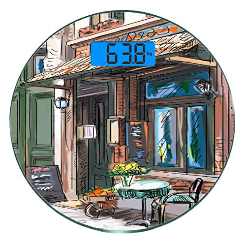 Digitale Präzisionswaage für das Körpergewicht Runde Stadt Ultra dünne ausgeglichenes Glas-Badezimmerwaage-genaue Gewichts-Maße,Straße in Paris-Café-Illustrations-Feiertags-Thema-Sommersaison EaMehrfa