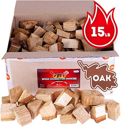 Zorestar Oak Smoker Wood Chunks - BBQ Cooking Chunks for All Smokers - 15lb