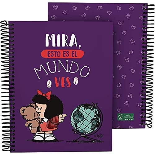 Mafalda 16512638. Cuaderno A5, Espiral, Tapa Dura Cartón Forrado, Cuadricula 5x5, Certificado FSC, Colección Mafalda, Mundo.