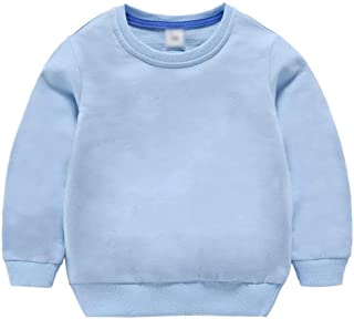 Baby Boy Girls Solid Color Sweater Children's Long-Sleeved Shirt Sweatshirt Tracksuit Long Sleeve...