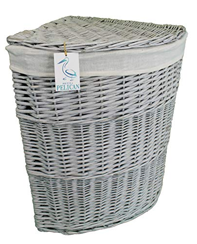 Pop-it-in-a-pelican - Cesta de mimbre para la colada, color gris, marrón y blanco, ratán y mimbre, Gris, 100 ltr