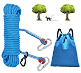 SUPJADE Dog Tie-Out Cable for Camping - 50ft (15m) Overhead Trolley System Dog Rope Portable Dog Lead Leash Line Camping Gear for Outdoor