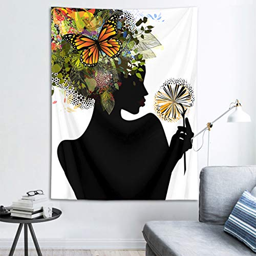 HVEST Sexy Black Girl Tapestry African Woman with Flowers Wall Hanging Spring Scenery Tapestries for Bedroom Living Room Dorm Party Decor,40Wx60H inches