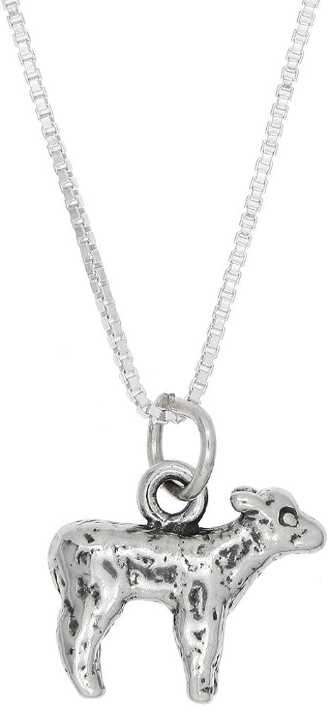 Sterling Silver Oxidized Three Dimensional Lamb Sheep Charm