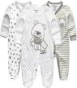 Kiddiezoom Baby Jungen Pyjama, eng-anliegend mit integrierten Schuhen, langarm, Baumwolle Gr. 50, Grauer Bär & Stern & gestreifter Bär