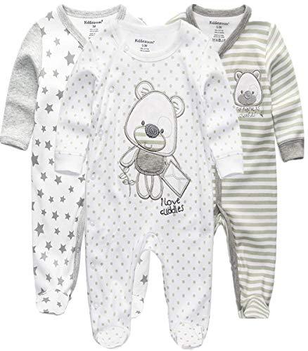 Kiddiezoom Mamelucos de algodón con pies de ajuste cómodo pijama de manga larga Onsises Sleepsuit, Oso gris y estrella y oso a rayas, 9 mes