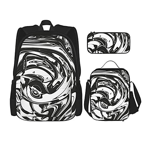 Juego de mochila maestro de mármol negro 3 piezas para adolescentes y niñas, mochila mensajero almuerzo bolsa lápiz