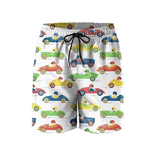 Colorido Coche Autobús Deportes Hombres Cordón Elástico Cintura Nadar Surf Playa Pantalones Cortos con Bolsillos M