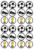 24 adornos comestibles para magdalenas, diseño de balón de fútbol #2, PRECUT