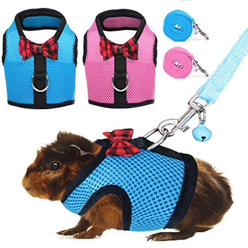 RYPET Guinea Pig Harness and Leash 2 Pieces - Soft Mesh Small Pet Harness with Safe Bell, No Pull Comfort Padded Vest for Guinea Pigs, Ferret, Chinchilla and Similar Small Animals