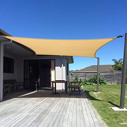 XXJF Sombra Cuadrado Toldo Resistente Protección Rayos UV Toldo Vela PES , Resistente Desgarro Y,protección para Patio Exteriores Céspede, Jardín, Exteriores, (Color : Sand, tamaño : 3x6m)