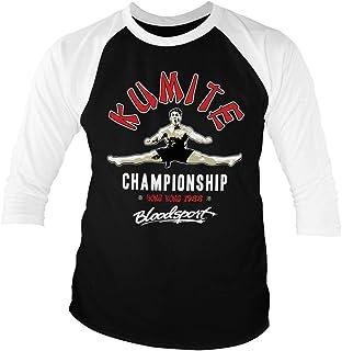 Bloodsport Officially Licensed Kumite Championship Baseball 3/4 Sleeve T-Shirt (Black-White)