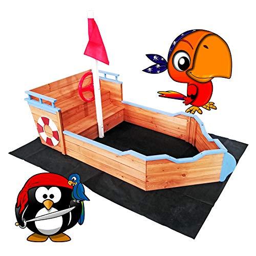 WilTec Arenero niños Forma Barco Madera 160x78x85cm Zona Juegos Infantil Jardín Terraza Exterior Jugar