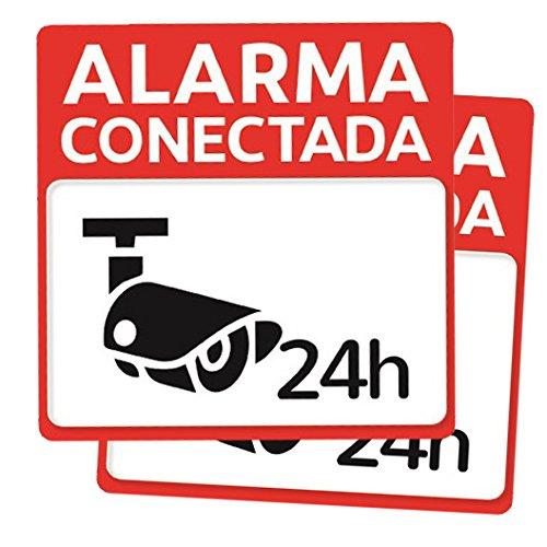 Pack 2 carteles disuasorios rígidos para pegar o sujetar alarma conectada 24 horas PVC diseño exterior para colgar casa empresas talleres