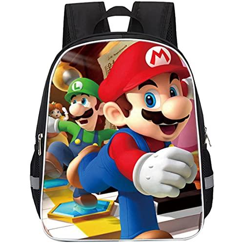 Mochilas Super Mario Hanel-Mochila Escolar para niños Mochila Escolar Mario Mochila Escolar de Dibujos Animados en 3D de Mario Bros para niños Estudiantes de Primaria y Secundaria