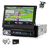 Pantalla 1 Din Radio de coche Bluetooth Navegación GPS Europa, ZIJIN Pantalla retráctil de 7 'Radio de coche Mp5 HD Mirror Link Memoria de grabación FM USB Control del volante + Cámara de marcha atrás