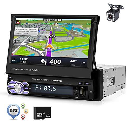 "Pantalla 1 Din Radio de coche Bluetooth Navegación GPS Europa, ZIJIN Pantalla retráctil de 7 ""Radio de coche Mp5 HD Mirror Link Memoria de grabación FM USB Control del volante + Cámara de marcha atrás"