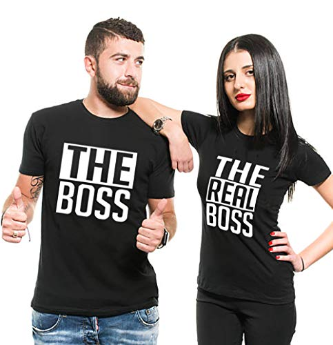Couple Partner T-Shirt The Boss und The Real Boss King Queen für 2 (Schwarz, Men-L+Women-S)