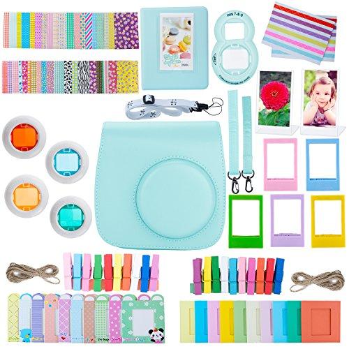 ZWOOS 12 in 1 Zubehör kompatibel mit Instax Mini 9/ Mini 8/ Mini 8+/ Mini 8S Sofortbildkamera, Kameratasche und Zubehör kompatibel mit Mini 9 Kamera(EIS Blau)