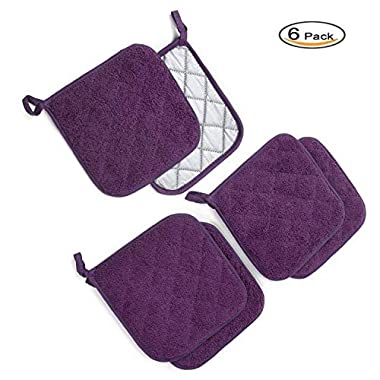 Kitchen Potholders Set (6 Pack) Heat Resistant Coaster 100% Pure Cotton Kitchen Everyday Potholders- 7 X7  For Cooking And Baking by Jennice House (Purple)