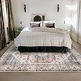 DECOMALL FINEEN Persian Large Area Rugs 8'x10' Vintage Distressed Medallion Floor Carpet for Bedroom Living Room Orange Blue Multi