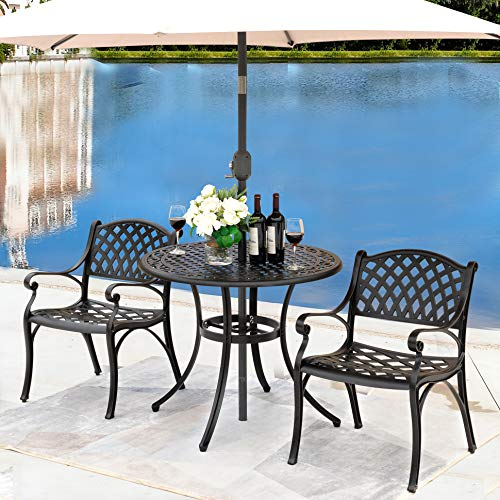 """NUU GARDEN Outdoor Patio Furniture 3 Piece Powder Coated Aluminum Dining Set with 36"""" Round Table and 2 Arm Chairs, Black"""