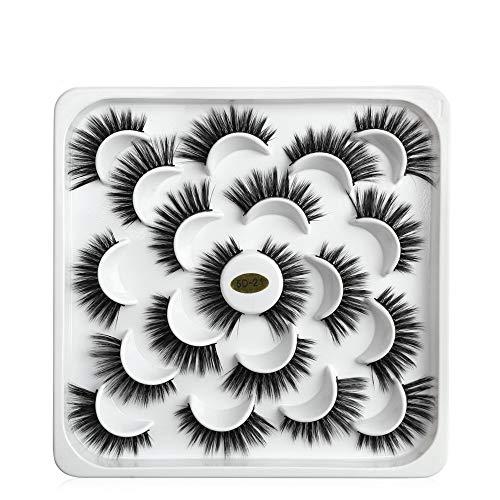 10 Pairs La beauté des femmes Croisement Panacée Long Mixed style Mascara watervish Faux cil Nature(5D21)