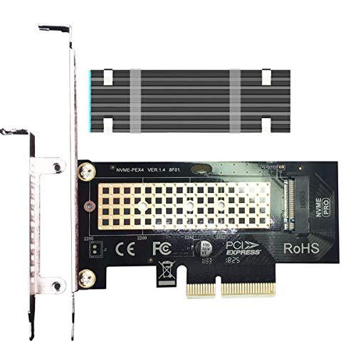 GLOTRENDS Adaptador M.2 PCIe NVMe 4.0/3.0 con disipador M.2 de 0.12 pulgadas/0.3cm de grosor para SSD M.2 PCIe (NVMe y AHCI), PCI-E GEN4 Full Speed, Instalación en PC de escritorio (PA09-HS)