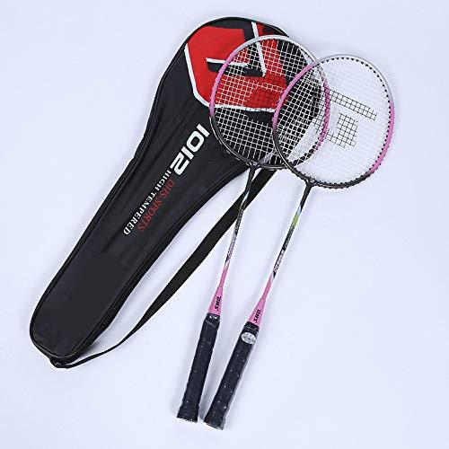 xiaoxioaguo Raqueta doble de bádminton para principiantes ofensiva de entrenamiento de juego raqueta de deportes