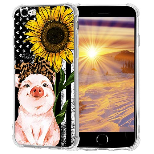 Amolin iPhone 8 Plus/7 Plus Case,American Flag Sunflower Leopard Headband Pig Case for iPhone 8 Plus/7 Plus Soft Slim Sillicone TPU Scratch-Resistant Protective Cover Case Compatible with iPhone